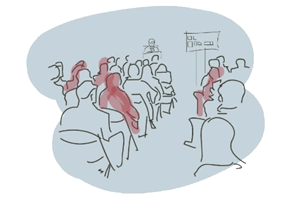 Illustration of people in a lecture theatre