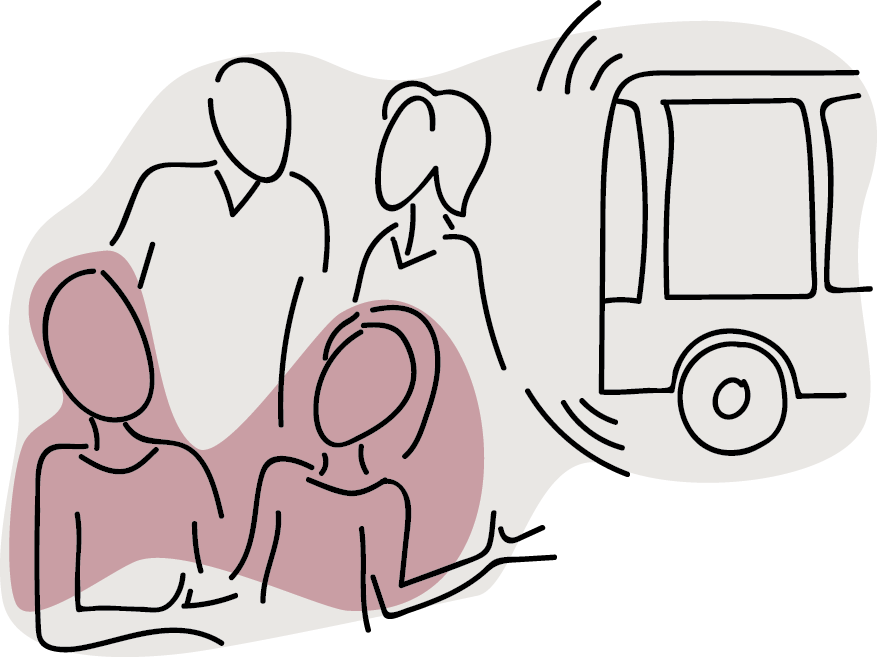 Illustration of people talking with a bus passing behind them