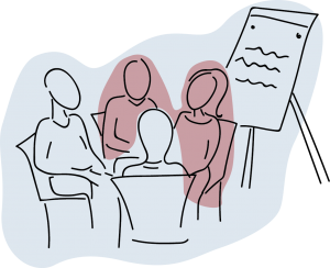 Line drawing of a meeting with flipchart