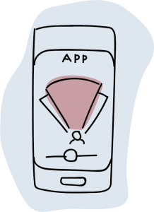Illustration of a mobile phone with an app on it
