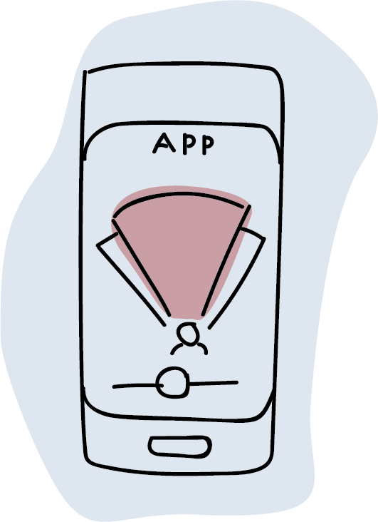 Illustration of a mobile phone displaying an app on the screen