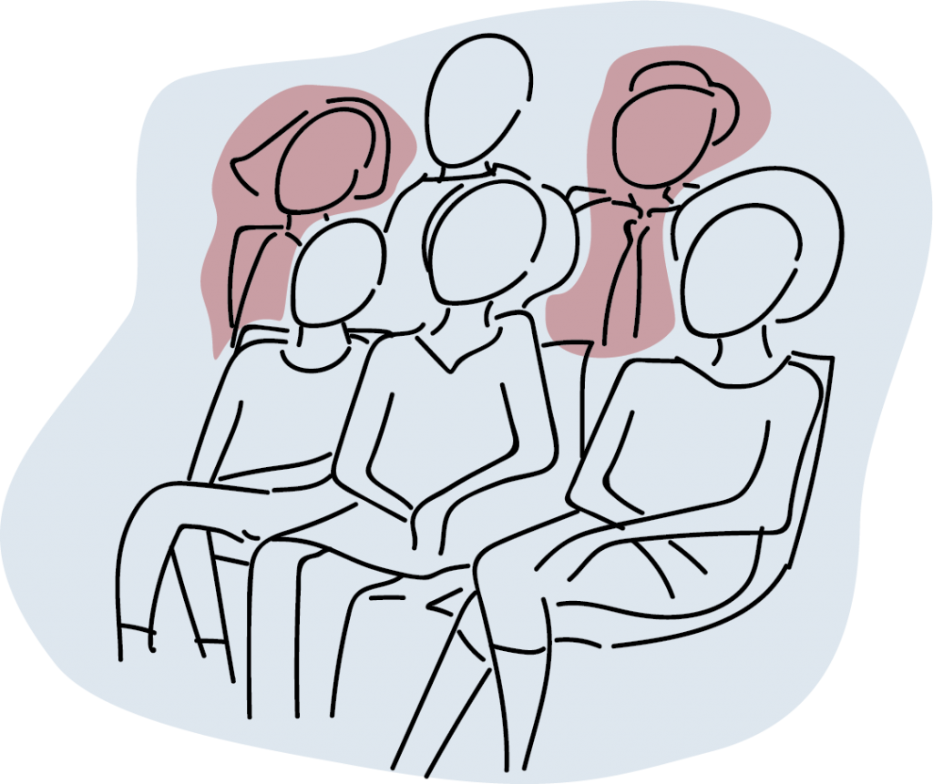 Illustration of people sitting listening