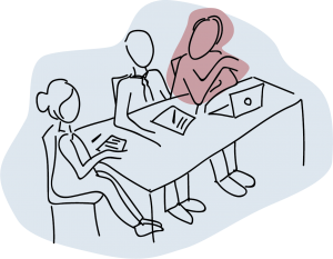 Illustration of three people sitting a meeting table