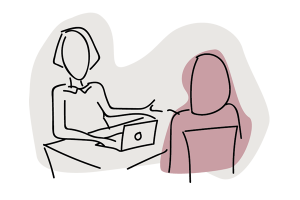 Line drawing of two people sitting at a desk talking with a laptop between them