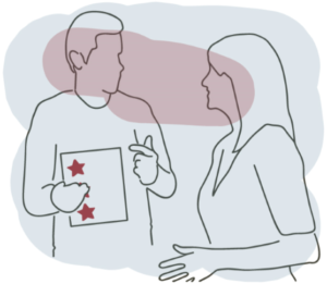 Line drawing showing two people talking, one is holding an assessment review card