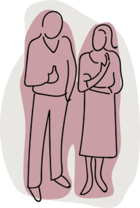 Line drawing of two people enjoying conversation