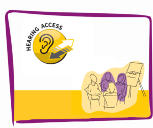 A drawing of four people in a meeting near the Hearing Access Protocol logo