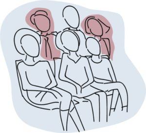Sketch of a group of six people, two of whom are shaded in a different colour to indicate that they have hearing loss