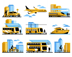 Drawings of different modes of public transport