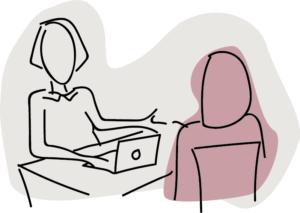 Illustration showing a person on a laptop sitting across a table from another person