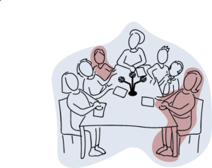 Sketch showing 7 people sitting round a table with a microphone between them