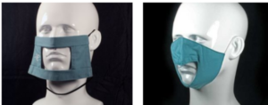 Three images showing three styles of face masks on plastic dummies