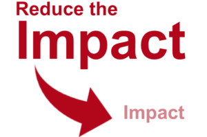 An image that reads Reduce the impact in big font with an arrow point to the word impact in smaller font