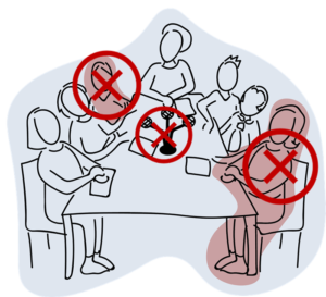 A line drawing of 7 people with 2 people crossed out and the microphones in the middle of the group crossed out