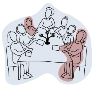 An illustration of 7 people sitting round a table with a set of microphones between them