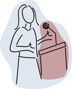 Illustration showing a woman at a podium speaking into a microphone