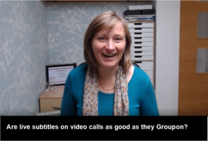 A women is speaking on a video call and subtitles display beneath which read: Are live subtitles as good as the Groupon?