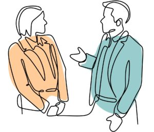 A line drawing of a man and woman talking